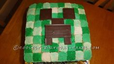 Coolest Minecraft Creeper Cake... This website is the Pinterest of homemade birthday cakes