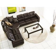 Stressless by Ekornes Furniture: Stressless Wave Low Back Reclining Leather Sofa. Collection also features reclining leather loveseat and sofa, reclining leather chair and more. #leather #couch #sectional