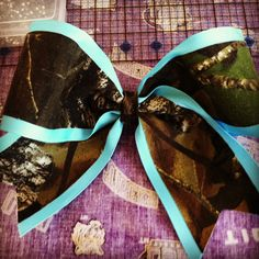 Teal and Camo Mossy Oak Www.sizematterscheerbows.etsy.com