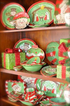 57 Beautiful Christmas Dinnerware Sets: Precious Christmas Hand-made and painted pottery from Etta, MS - The reds, greens, creams, and browns will mix with any of your Christmas dinnerware