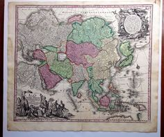 1760 map of Asia by Matthias seutter.