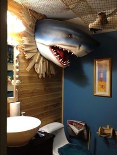 haha! Zach would love this. -Shark Head Wall Mount Shark Head Decor Large Life Size Shark Head