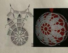 Christmas Tree Baubles, Crochet Christmas Ornaments, Christmas Crochet Patterns, Crochet Snowflakes, Snowflake Ornaments, Christmas Crafts, Crochet Ball, Crochet Chart, Filet Crochet