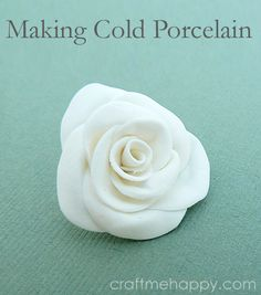 Making cold porcelain ~ All of me: Craft me Happy! Includes a recipe for cold porcelain and experiments with various techniques. A nice air dry clay for kids. Making Cold Porcelain Learn how to make cold porcelain out of ingredients that you may already h Polymer Clay Crafts, Diy Clay, Clay Projects, Diy Craft Projects, Porcelain Clay, Cold Porcelain Flowers, Cold Porcelain Jewelry, How To Make Porcelain, Clay Ornaments