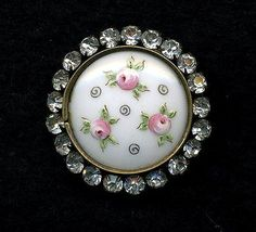 Antique Button...Stunning Enamel Pink Roses on Glass or Porcelain...Paste Border in Antiques, Sewing (Pre-1930), Buttons | eBay