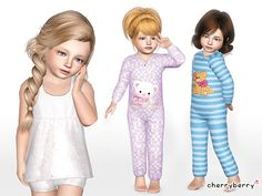 Time for sleep! New toddler sleepwear set with a white lace dress and cute onisies with Teddy Bears.  Found in TSR Category 'Sims 3 Female Clothing Sets'