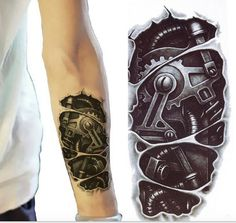 Bionic Robot Temporary Tattoo Sleeve, Tattoo Sleeve, Arm Tattoo, Arm Sleeve, Mens Tattoos, Womens Tattoos,Biomechanical Tribal Future Design