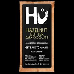 Our most indulgent chocolate bar        Rich hazelnut butter spread inside dark chocolate The Hu version of everyone's favorite hazelnut chocolate spread  Twelve 2.1 oz chocolate bars  Ingredients: organic fair-trade cacao, hazelnut, unrefined organic coconut sugar, organic fair-trade cocoa butter - contains less than 2% of almonds and cashew  Allergy Statement: Contains almond, hazelnut, cashew and coconut. Produced on equipment which processes milk, eggs, soy, peanuts, other tree nuts ...