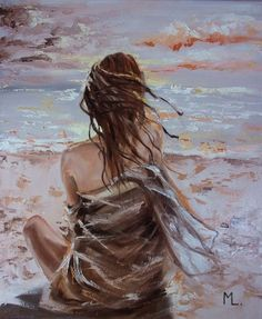 Oil painting Sky Landscape Art - - Oil painting Ideas For Beginners - Oil painting Figure Women Figure Painting, Oil Painting On Canvas, Painting People, Paintings For Sale, Original Paintings, Art Oil Paintings, Magic Places, Wal Art, Sky Sea