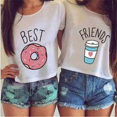 Women Best Friends Print T-Shirt Casual Summer Short Sleeve Round Neck Crop Top
