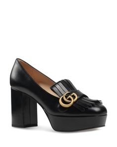 Gucci leather kiltie pump with GG logo detail. covered block heel with platform. Fold-over fringed vamp. Leather lining and sole. Made in Italy. Fit: Runs true to size. Pink Pumps, Women's Pumps, Pump Shoes, Gucci Marmont, Platform High Heels, Leather Fringe, Leather Pumps, Skull Jewelry, Hippie Jewelry