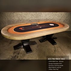 This is a gorgeous Aces Pro Poker Table on Melvin Legs with Exotic Vinyl Wild Croc in Bronze from BBO Poker Tables