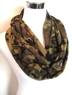 LONG Camo Infinity Scarf  camouflage Jersey Knit  by ChevronScarf, $25.00