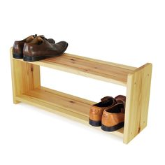 Simple Solid Brown Color Scheme Pine Wood Materials Shoe Rack Furniture Design Ideas With Two Levels Shoe Shelving Ideas With Rectangle Shaped Shelving Style. .