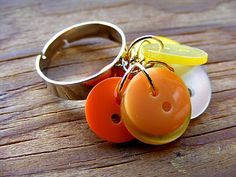 DIY Candy Corn Inspired Button Ring