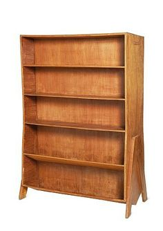 Pierre Jeanneret; Teak 'Double-Faced' Shelves for Central State Library of Chandigarh, c1960.
