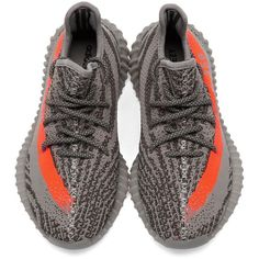 YEEZY Season 2 Grey Orange YEEZY BOOST 350 V2 Sneakers ❤ liked on Polyvore featuring shoes, sneakers, trainers, grey shoes, grey sneakers, orange shoes, lacing sneakers and adidas trainers