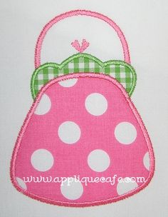 Applique Cafe - Purse could use different color polka dots on white background for quilt blocks, maybe monogram for personalization