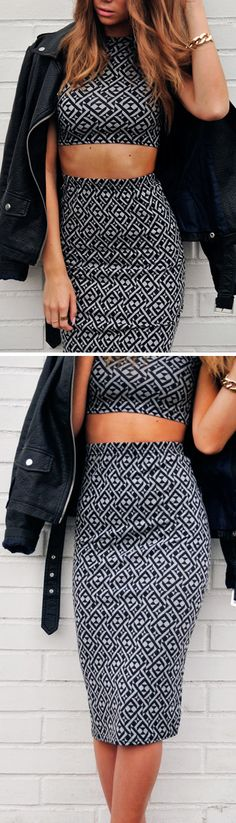 Crop top and skirt in black white pattern, wish I could get away with wearing this