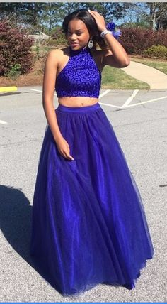 Royal Blue Two Pieces Prom Dresses 2016 High Neck Beading Crystals Keyhole Back Evening Dress Sexy Party Dresses Formal Dress Gowns Custom Prom Gowns Elegant, Modest Prom Gowns, Royal Blue Prom Dresses, Blue Evening Dresses, Prom Dresses For Teens, Prom Dresses With Sleeves, Plus Size Prom Dresses, A Line Prom Dresses, Tulle Prom Dress