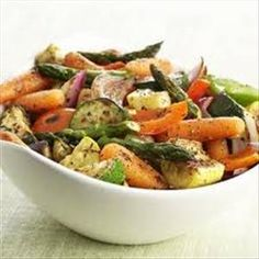 Zucchini, squash, bell peppers, asparagus and onion- might grill instead of using the oven.