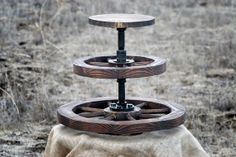 Two Wagon Wheels 3 Tier Stand for Cupcakes / Pie on Etsy, $150.00