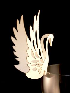 10 Laser cut wedding table decoration place card swan glass perchers by Laserbean, £7.50
