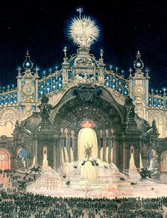 """artnouveaustyle: """"Painting of the """"Palace of Electricity"""" at the Paris Exposition Universelle/World's Fair in Image source. History Class, Art History, Art Nouveau, Art Deco Posters, Portraits, Tag Art, Vintage Art, Taj Mahal, My Arts"""