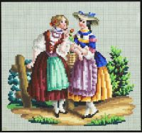 Girls, one perhaps from town the other from the country Mini Cross Stitch, Cross Stitch Samplers, Cross Stitch Charts, Cross Stitch Designs, Cross Stitching, Cross Stitch Patterns, Vintage Cross Stitches, Vintage Embroidery, Embroidery Patterns