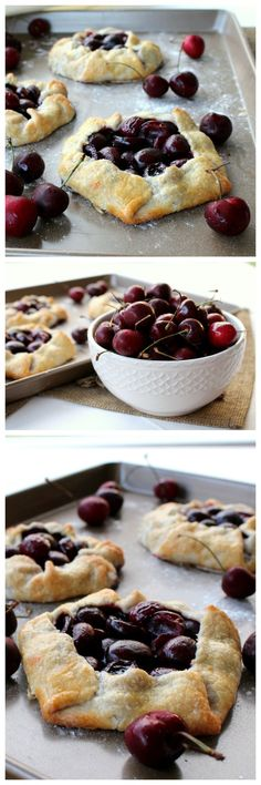 Cherry Tarts - Chocolate With Grace Rustic Cherry Tarts. A simple rustic tart that highlights the beautiful, fresh cherry textures and flavors. A simple rustic tart that highlights the beautiful, fresh cherry textures and flavors. Just Desserts, Delicious Desserts, Dessert Recipes, Yummy Food, Cherry Desserts, Cherry Recipes Dinner, Cherry Tart, Fresh Cherry, Fresh Fresh