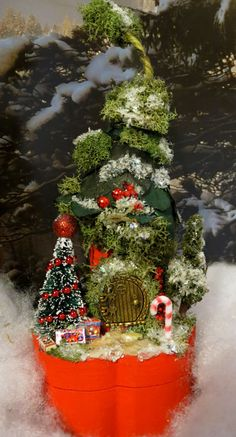 Fairy House Red Christmas Woodland by WoodlandFairyVillage on Etsy, $32.99