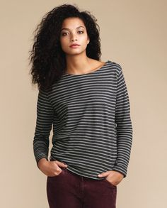 Poetry - Striped Jersey Top - A wardrobe essential in four core colourways, this Breton striped top has a classic boat neck, fastened with three buttons at the shoulder. Contemporary and fresh with a slightly flared hemline and turned back cuffs. 55% Hemp 45% Cotton