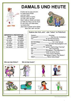 Präteritum - Damals und heute German Grammar, German Language, Learn German, Foreign Languages, Comprehension, Activities For Kids, Our Kids, Germany, English