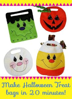 Make these adorable Halloween treat bags in only 20 minutes! Great project for kids! Embroidery project, embroidery design, Trick or Treat!