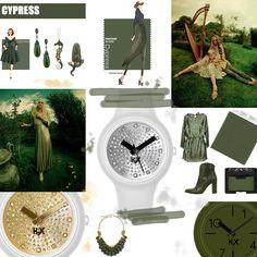 Tra i colori scelti da Pantone per le tendenze moda autunno inverno 2014-2015: Cypress, ispirato al verde rilassante e intenso della natura!  Splendido per lui in monocolore (l'orologio in basso a destra è H2X ONE GENT), magico per lei se mixato con l'argento, il bianco e l'oro (gli orologi sono due fantastici modelli H2X ONE LADY).