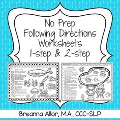 No Prep Following Directions Worksheets