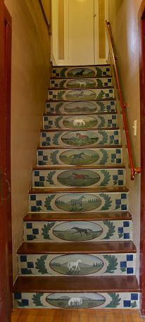39 Inspiring Painted Stairs Ideas Staircase design, Stairs d… Equestrian Decor, Western Decor, Equestrian Style, Painted Stair Risers, Painted Staircases, Painted Floors, Painted Furniture, Staircase Design, Staircase Ideas