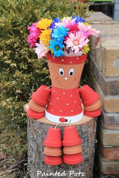 ... to Ladybug flower pot person