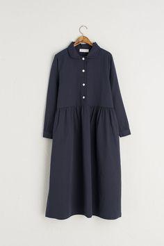 Peterpan Collar Dress, Navy