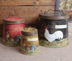NEW Shabby Country Chic Rooster Tin Canister Set Home Decor, Free Shipping