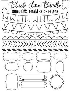 Set of 20 black line borders, frames and flags from Sonya DeHart. Saved as transparent .png files at 300 DPI.: