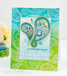 Happy Birthday Grandma Card by Betsy Veldman for Papertrey Ink (January - Weiblichesgehirn Happy Birthday Grandma, Happy Birthday Cards, Grandma Cards, Eid Cards, Birthday Card Design, Hand Stamped Cards, Embossed Cards, Ink Stamps, Creative Cards