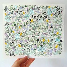 Anna Emilia, Waiting for Rain, Watercolor, Flowers Watercolor Pattern, Pattern Drawing, Watercolor Print, Watercolor Flowers, Textile Patterns, Print Patterns, Floral Patterns, Beatrix Potter, Pattern Illustration