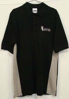 CSA Chicago White Sox Embroidered Black Cotton Short Sleeve Polo Shirt Medium M #CSA #PoloRugby
