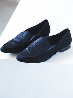 Kira Slip On Loafer | Pointed toe slip on suede loafer with a pony hair top.   *By Faryl Robin + Free People