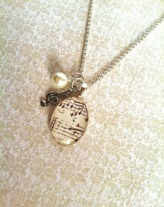 Sheet Music Necklace Music Notes Necklace by RareJewelByKathy