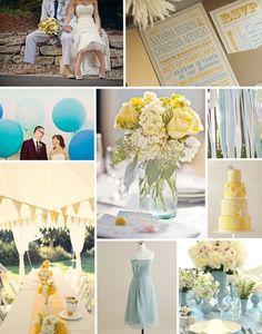 Palette colori matrimonio 2016 serenity e giallo