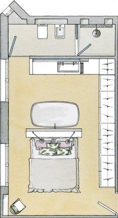 Bedroom Wall Decor Ideas Small Rooms Interior Design 35 Ideas For 2019 Small Room Interior, Bathroom Interior Design, Home Interior, Small Rooms, Hotel Room Design, Small Room Design, Dispositions Chambre, Bathroom Shower Curtain Sets, Scandinavian Interior Design
