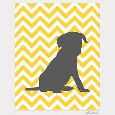 "Dog Wall Art Puppy Print Personalized Nursery - Chevron Silhouette Animal Dog Print Kids Room Decor Wall Art, Gray Yellow White Bold - 8x10"""