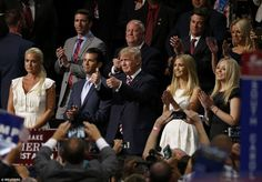 Support system: As Eric Trump took the stage, Vanessa Trump (left), Donald Trump Jr. (second left), U.S. Republican Presidential nominee Donald Trump (center), Ivanka (second right) and Tiffany (right) applaud